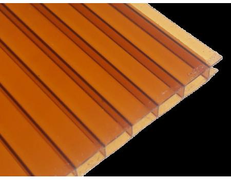 Поликарбонат сотовый коричневый (янтарь) 4мм 2100х12000 мм