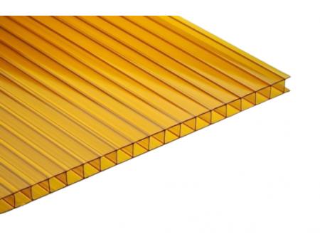 Поликарбонат сотовый оранжевый 4мм 2100х6000 мм