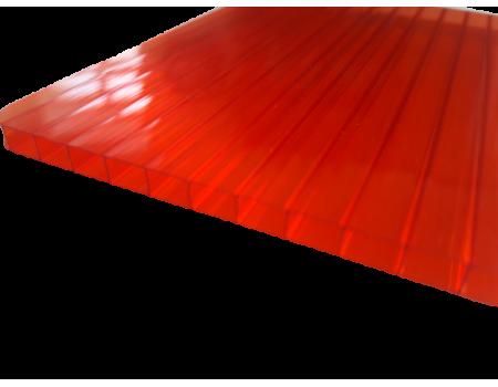 Поликарбонат сотовый красный 6мм 2100х6000 мм