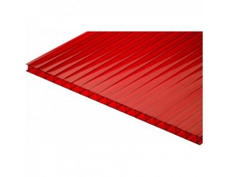 Поликарбонат сотовый красный 6мм 2100х12000 мм