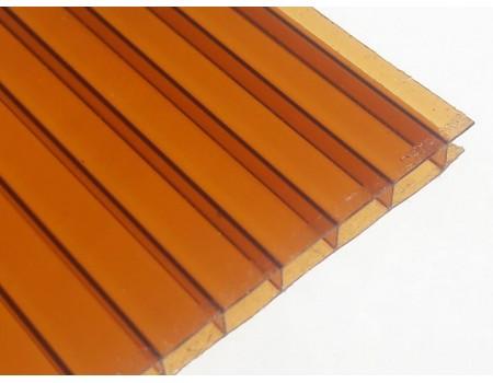 Поликарбонат сотовый коричневый (янтарь) 8мм 2100х6000 мм