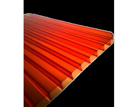 Поликарбонат сотовый красный 8мм 2100х12000 мм