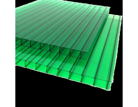 Поликарбонат сотовый зеленый 10мм 2100х12000 мм